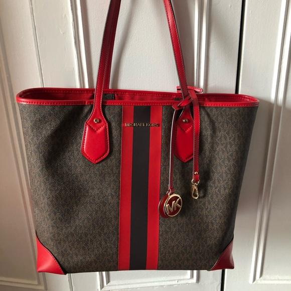 Michael Kors Red and Brown Large Tote Bag